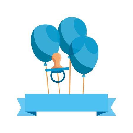 Carte de douche de bébé avec des ballons hélium conception d'illustration vectorielle Vecteurs