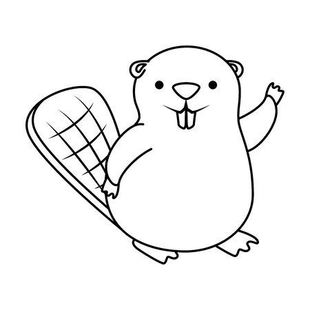 cute beaver mascot animal icon vector illustration design Foto de archivo - 128400277