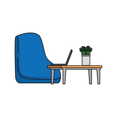 office work place scene with laptop vector illustration design Ilustrace