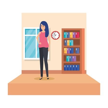 female teacher in school classroom vector illustration design