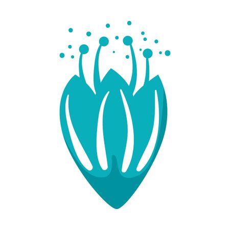 Rosa con diseño de ilustración de vector de icono de hojas Ilustración de vector