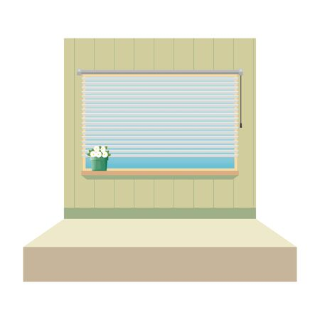 window with blind with house plant indoor scene vector illustration design 向量圖像