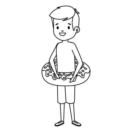süßer kleiner Junge mit Badeanzug und Donut Float Vector Illustration Design