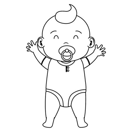 cute little baby boy with pacifier character vector illustration design Иллюстрация