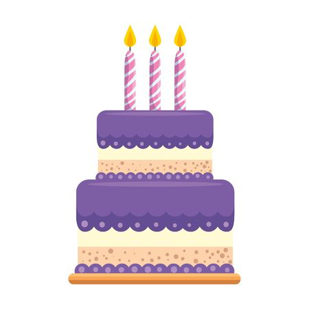 sweet cake bakery with candles vector illustration design