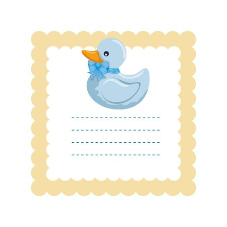 baby shower card with little duck vector illustration design