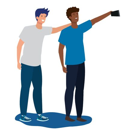 interracial young men friends taking a selfie vector illustration design