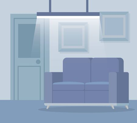 sofa with picture and door with light structure in the office, vector illustration