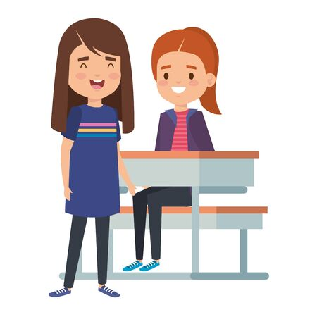 cute little students girls in school desk vector illustration design Illusztráció
