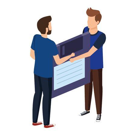 young men lifting floppy disk data storage vector illustration design