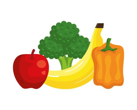 fresh vegetables and fruits healthy food vector illustration design 스톡 콘텐츠 - 128471398