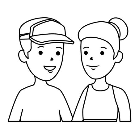 young boy shirtless with sport cap and cute woman vector illustration design Standard-Bild - 128428627