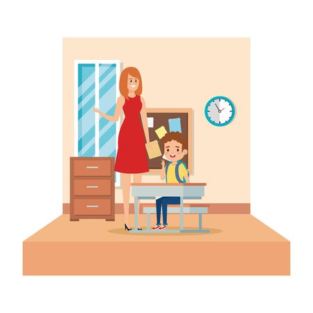 female teacher and boy seated in desk in the classroom vector illustration design Illustration