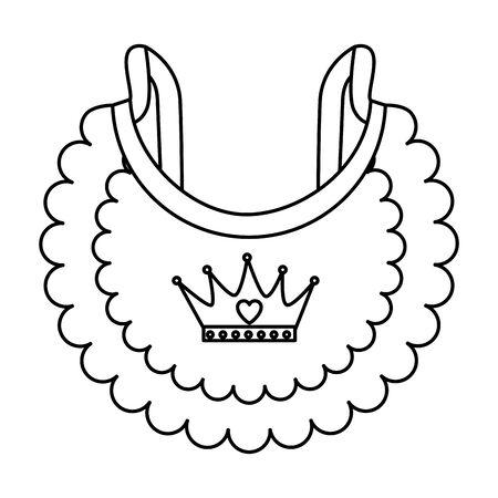 Diseño lindo del ejemplo del vector del icono de la ropa del babero del bebé