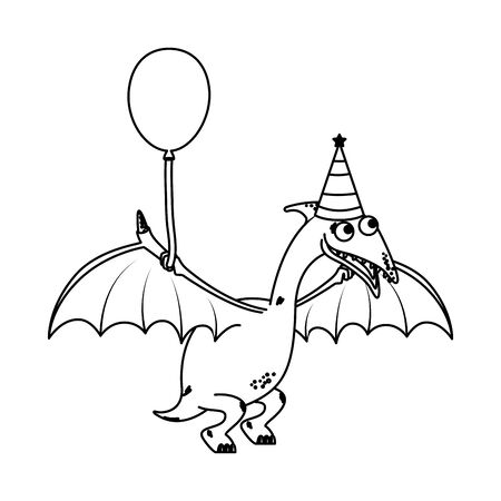 cute Pterodactyl with balloon helium vector illustration design