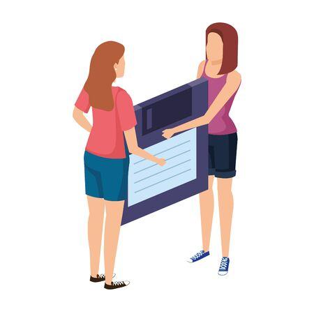 young women lifting floppy disk data storage vector illustration design