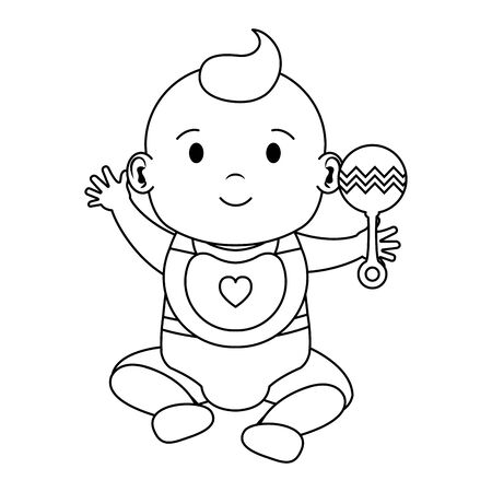 cute little baby boy with bell character vector illustration design