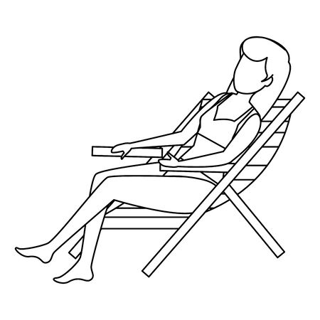 beautiful woman with swimsuit seated in beach chair vector illustration design