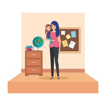 female teacher and little girl in school classroom vector illustration design