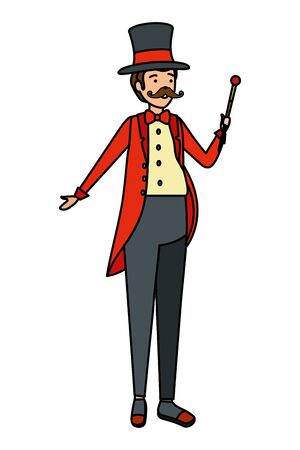 circus magician with hat and wand vector illustration design Illusztráció