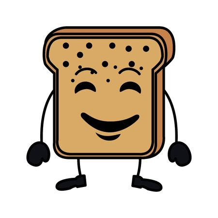 delicious bread toast kawaii character vector illustration design
