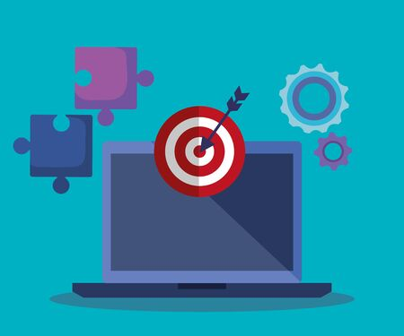 laptop technology and target with arrow and puzzles to business strategy vector illustration