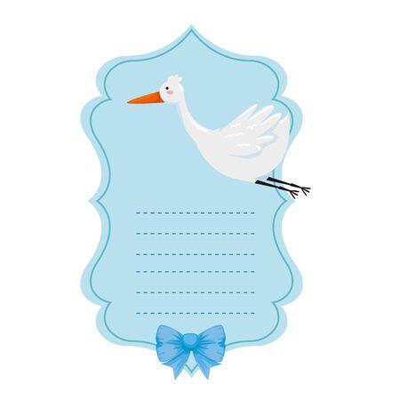 baby shower card with stork vector illustration design Banque d'images - 128471354