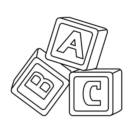 alphabet blocks toys baby icons vector illustration design Ilustração