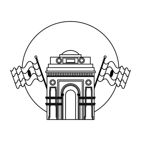 indian gate arch monument with flags vector illustration design