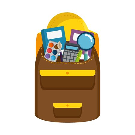 schoolbag with education items icon vector illustration design Stock Vector - 128471407
