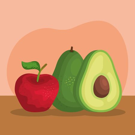 delicious apple with avocado fruits nutritions to healthy food, vector illustration Illustration