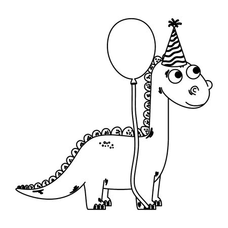 cute diplodocus with balloon helium vector illustration design