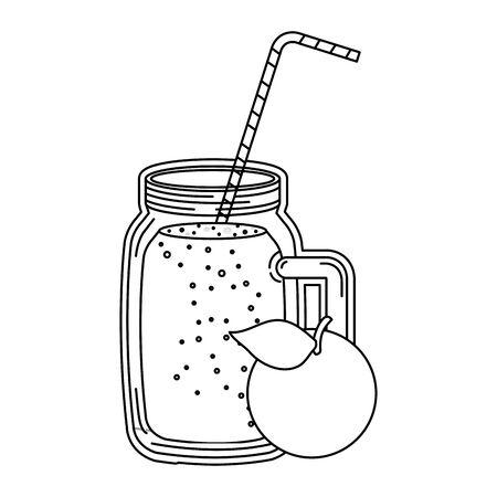 juice orange fruit beverage jar with straw vector illustration design Illustration