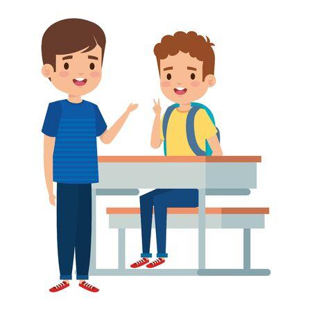 happy little students boys seated in school desk vector illustration design Foto de archivo - 128482214
