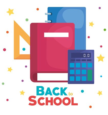 book with notebook and triangle ruler with calculator to back to school vector illustration  イラスト・ベクター素材