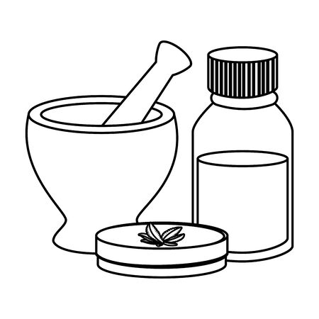 cannabis ointment with bottle and grinder vector illustration design Ilustração