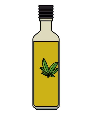 bottle with cannabis oil product vector illustration design Ilustração