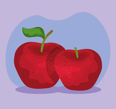 delicious apples fresh fruits nutrition over purple background, vector illustration