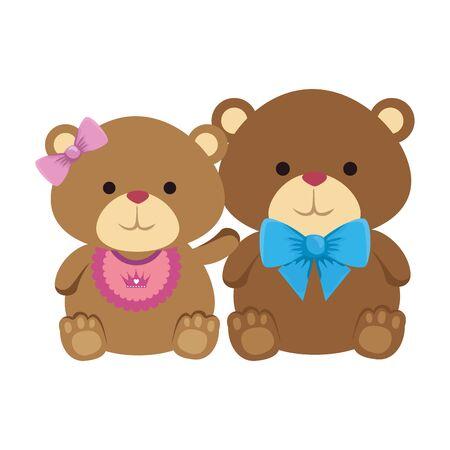 cutte little bears teddies couple vector illustration design