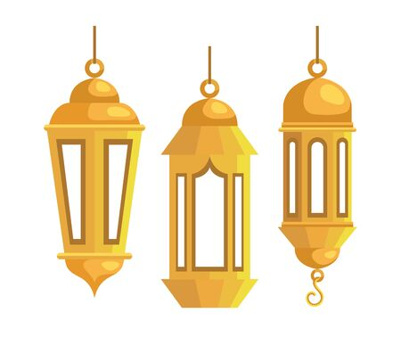 set of lamps hanging traditional festival over white background, vector illustration