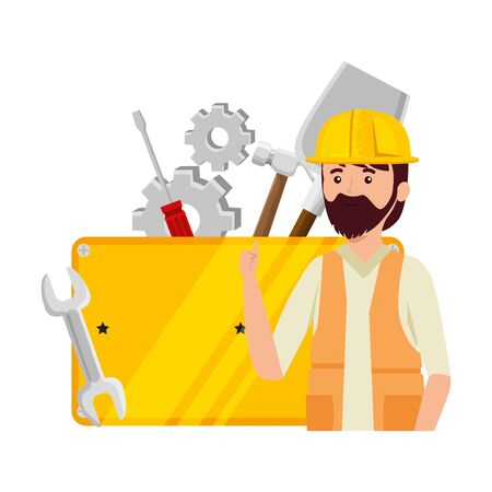 professional mechanic worker with set tools vector illustration design  イラスト・ベクター素材