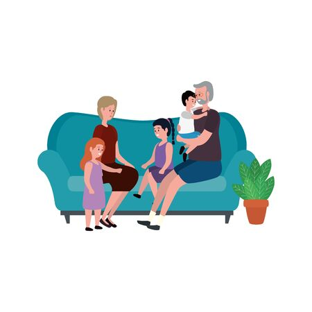 cute grandparents couple with little kids in the sofa vector illustration design 向量圖像