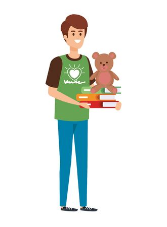 man volunteer with books and bear teddy vector illustration design