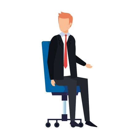elegant businessman sitting in office chair vector illustration design 向量圖像