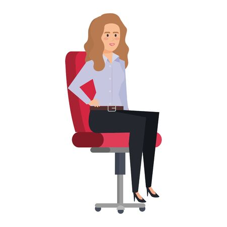 elegant businesswoman sitting in office chair vector illustration design