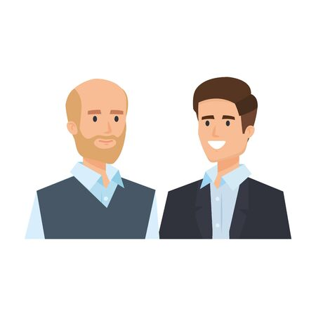 couple of businessmen avatars characters vector illustration design Ilustração
