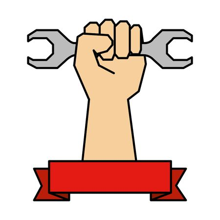 hand with wrench key tool icon vector illustration design 向量圖像