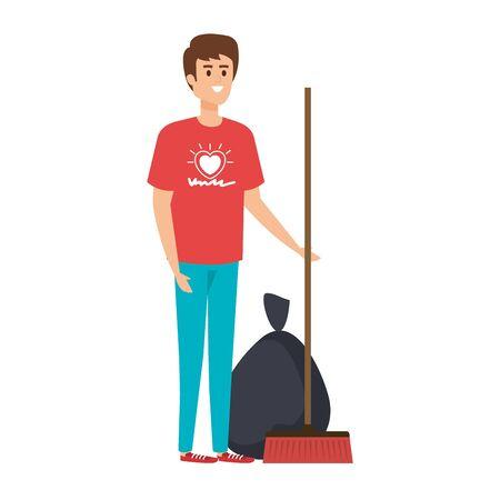 young man volunteer character vector illustration design Ilustracja