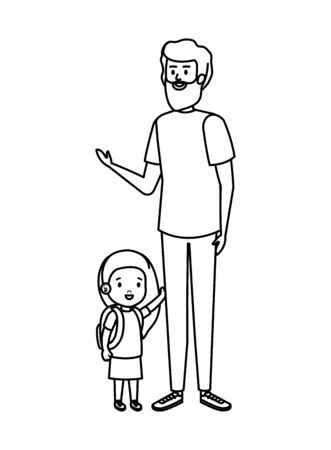 father with daughter characters vector illustration design  イラスト・ベクター素材