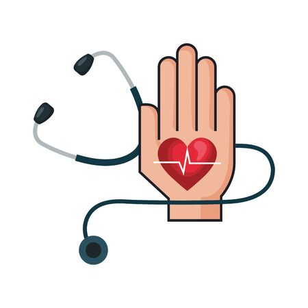 hand with heart cardio and stethoscope vector illustration design Illustration